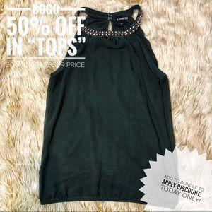 Express Olive Green Halter Blouse - Embellished